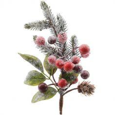 Petite Branche Décorative Noël Enneigée et Pailletée