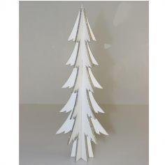 Décoration à Poser Noël - Bois - Sapin Blanc avec Paillettes - Argent