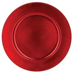 Assiette de Présentation Ronde - Rouge Métallisé - Lisse