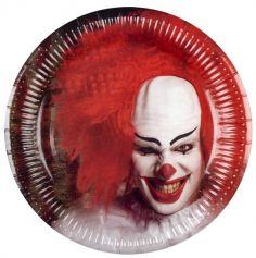 Sachet de 6 Assiettes en Carton - Clown d'Horreur