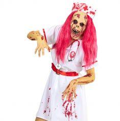 Masque Infirmière Zombie avec Perruque
