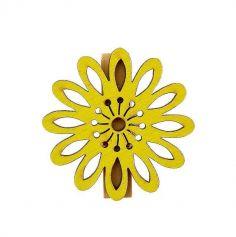 6 Pinces Fleur Mambo Jaune