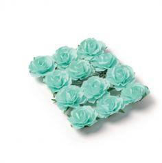 Sachet de 12 Roses sur tige - Vert Menthe
