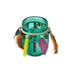 Photophore Gypsy avec perles et plumes - Emeraude