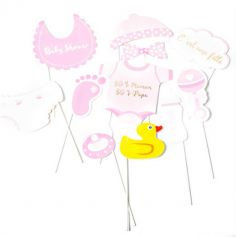 Kit Photobooth Baby Shower Fille / 11 pièces
