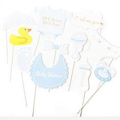 Kit Photobooth Baby Shower Garçon / 11 pièces