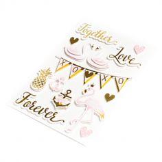 Sachet de 14 Stickers Amour - Or et Rose