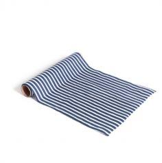 Chemin de Table en Coton Rayé - Bleu Marine