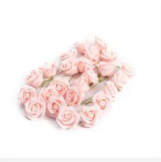 Sachet de 24 Roses sur tige - Rose Pastel