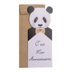 Sachet de 8 invitations Joli Panda et enveloppes kraft