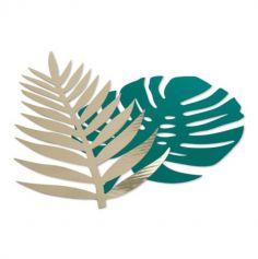 Sachet de 6 feuilles tropicales - Vert et Or