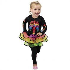 Déguisement Fille - Robe Squelette Arc-en-Ciel - Taille 3-4 ans