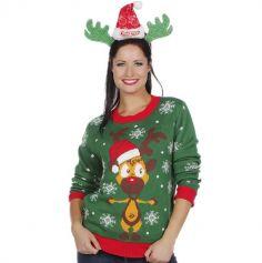 Pull de Noël - Adulte - Renne au Nez Rouge - Taille au Choix