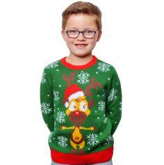 Pull de Noël - Enfant - Renne au Nez Rouge - Taille au Choix