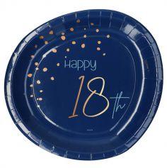 8 Assiettes en carton - Anniversaire Elégant - Bleu & Or - 23 cm - Age au Choix