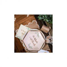 8 Assiettes en carton Retraite Party - Beige, Or & Feuilles d'Olivier - 23 cm