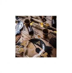 8 Assiettes en carton - Pirate Kraft, Noir & Or - 28 x 23,7 cm