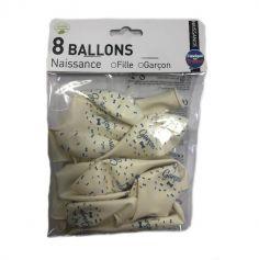 8 Ballons Baptême Garçon Bleu
