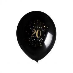 8 Ballons Métalliques - Joyeux Anniversaire Etincelant - Noir & Or - Age au Choix