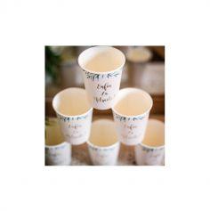 8 Gobelets en carton Retraite Party - Beige, Or & Feuilles d'Olivier - 25 cl