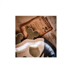 8 Invitations avec enveloppes - Pirate Kraft, Noir & Or - 15 cm