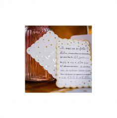 8 Invitations avec enveloppes - Pois et Festons Blanc et Or - 15 cm