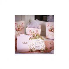 8 Invitations avec enveloppes - Princesse Rose & Or - 16 cm