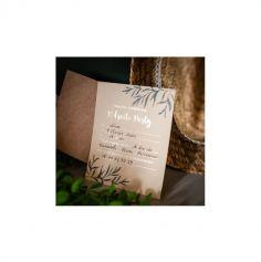 8 Invitations avec enveloppes Retraite Party - Beige, Or & Feuilles d'Olivier - 15 cm