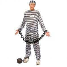 Costume de Prisonnier Rayé Homme - Taille Unique