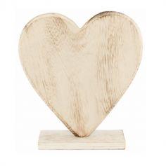 Décoration Cœur en Bois sur Pied