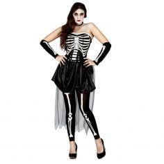 Déguisement Robe de Bal Squelette Femme - Taille au Choix