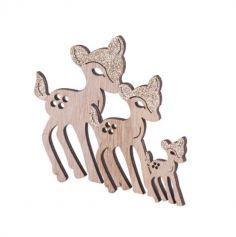 Confettis de Table - 12 Petits Faons en Bois - Paillettes Cuivre