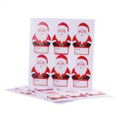24 Stickers Cadeaux - Père Noël avec Boucle Dorée