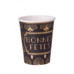 """8 Gobelets """"Bonnes Fêtes"""" - Collection Paon - Noir floqué Or"""