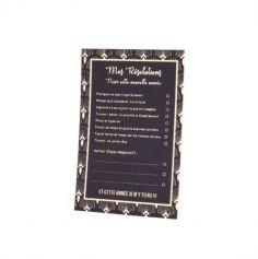 Sachet de 8 Cartes de Résolutions - Bonnes Fêtes -  Collection Paon - Noir Floqué Or