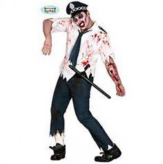 Déguisement Policier Zombie Homme - Taille au choix