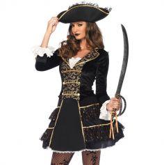 Déguisement Femme - Capitaine des Pirates Luxe avec Chapeau - Taille