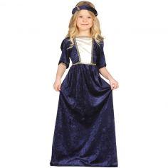 Costume Dame Médiévale Bleu Fille - Taille au Choix