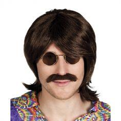 """Set perruque et moustache """"Gary"""" - Brun"""