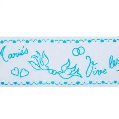 "Ruban Tulle ""Vive les Mariés"" - Turquoise"