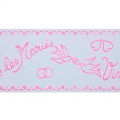 """Ruban Tulle """"Vive les Mariés"""" - Rose"""