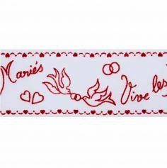 """Ruban Tulle """"Vive les Mariés"""" - Rouge"""