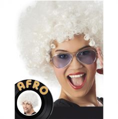 Perruque Disco Coupe Afro - Blanche