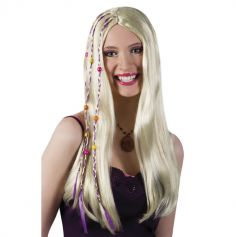 Perruque Hippie Flower Power Femme - Blonde