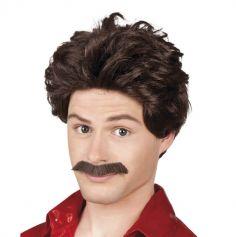 Perruque Homme avec Moustache - Brun