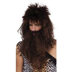 perruque et barbe d'homme des cavernes