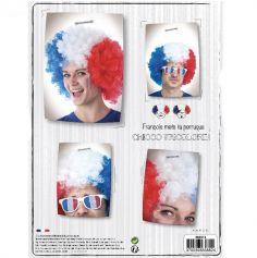 Perruque de Supporter Bleu Blanc Rouge - France