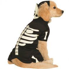 Halloween - Déguisement Chien - Squelette Phosphorescent -Taille au Choix