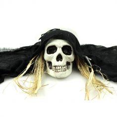 Crâne à suspendre avec Lambeau de tissu et Paille