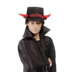 Chapeau Noir Halloween avec Cornes de Diable Réfléchissantes